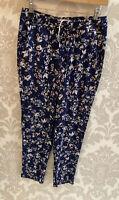 Navy Blue M&S Per Una Lounge Elastic Waist Trousers SIZE 8 UK VGC