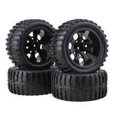 Black RC 1:10 Truck Water Wave Tires + Plastic Wheel Rim 12mm Pack of 4