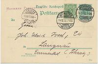 """DT.REICH """"MÜNSTER / (WESTF.) 2"""" K2 5 Pf grün GA-Postkarte m Zusatzfrankatur 1892"""