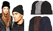 Lot of 6 Beanie Womens Mens Assorted Colors Winter Cuffed Knit Beanies Hats Caps