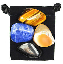 LEVEL HEAD Tumbled Crystal Healing Set = 4 Stones + Pouch + Description Card