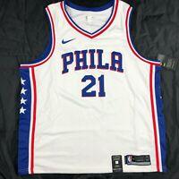 Nike Philadelphia 76ers Joel Embiid Swingman Jersey White Red Blue Men's S-XL