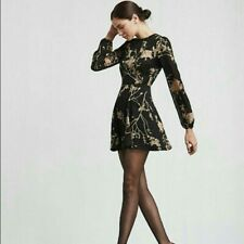 Reformation Westwood Fit & Flair Black Floral Mini Dress Long Sleeve Size 0P