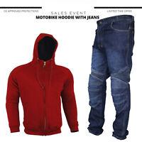 Men's Motorcycle Racing Suit Motorbike Hoodie Jeans Suit Armored Jacket Trousers