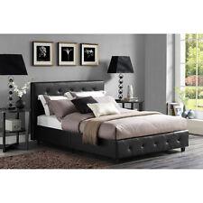 Upholstered Bed Frame Full Size Modern Tufted Headboard Black Bedroom Furniture
