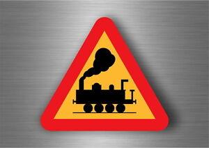 Autocollant sticker panneau route attention train attention