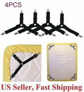 4Pcs Bed Sheet Clips Suspender Straps Mattress Fastener Holder Triangle Grippers