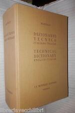 DIZIONARIO TECNICO ITALIANO INGLESE Giorgio Marolli Furga Gornini Le Monnier di