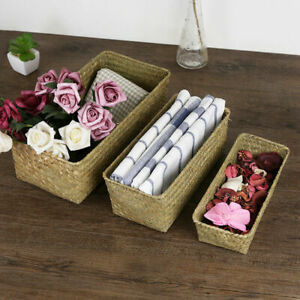 Rectangle Natural Handmade Straw Storage Box Seagrass Basket Desktop Container