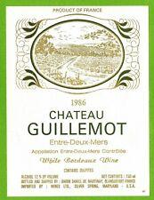 Ancienne Etiquette de vin-Bordeaux(1986)-Entre-2-Mers-Château Guillemot -N°460b