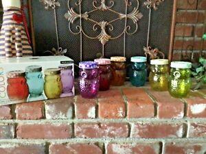 NEW 6 OWL 3D Glass Jars Canning Storage Jars 6 Colors w/Matching Plaid Lids NIB