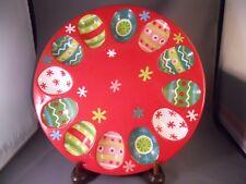 Christmas Deviled Egg Plate Ceramic Red Green Boston Warehouse 2006