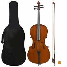 More details for vidaxl cello full set with bag and natural hair bow dark wood 4/4 beginners