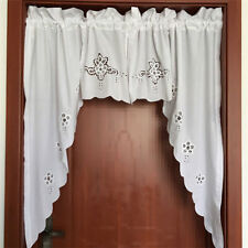 Elegant Pair of Battenburg Lace Embroidery Cutwork White Curtain Swags