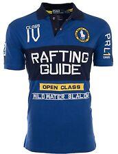 Polo Ralph Lauren Para Hombre Custom Fit Camisa Polo azules bordadas rafting guía de $145