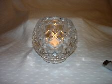 Clear Glass Candle Holder Diamond Circle Pattern Heavy