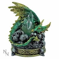 Nemesis Now Green Dragon Guardian Crystal Keeper Figurine Gothic Ornament