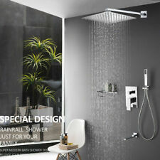 """Concealed Shower Tap Mixer Valve Kit 16"""" Square Over Head with Rail Bathroom Set"""