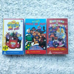 The Wiggles TootToot/Wake Up Jeff/Banana In Pajamas Its Music Time VHS Tapes