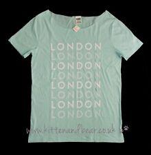 BNWT Victoria's Secret Pink L Hombro Camiseta Camiseta Top Londres Salón De Algodón