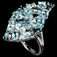 Ring Blautopas London Swiss Sky Blue 925 Silber 585 Weißgold Ø 17.5 mm
