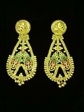 "Beautiful 22 K Solid Gold Earrings, Enamel, 15.9 Grams, 2.5"" Long, Reversible!"