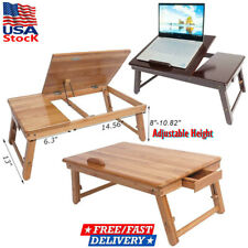 Bamboo Portable Laptop Desk Folding Foldable Lap Tray Bed Adjustable Table Stand