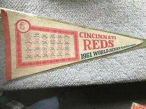 "Vintage 1961 CINCINNATI REDS Pennant 26 1/2"" x 12 1/2"" Condition as shown"