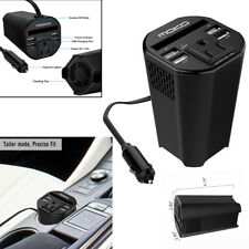 150W Car Power Inverter DC12V to 110V AC Converter with 4 USB Adapter Cup Holder