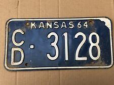 1964 Kansas License Plate 3128 Cloud County Original Plates 64