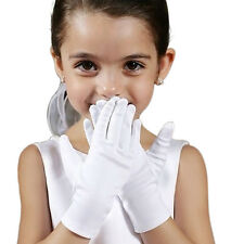 Kid Gloves White Short Satin Feel Boy Girl Hold Flower Performance Dance Gloves