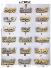 Personalized Silver Gold Script Double ANY NAME Plate Necklace + Chain 27 STYLES