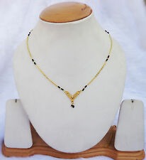 India Gold Plated Mangalsutra Traditional Woman Black Beads Ethnic 18k Jewellery