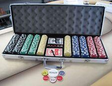 500 Chips Poker Dice Chip Set W/ Dice Decks Dealer Kit & Silver Case Keys *