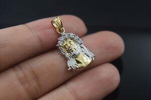 Medium 14k Gold Jesus Face Pendant Religious Charm Divino Rostro Medalla Oro