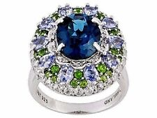 Blue Topaz, Tanzanite, Chrome Diopside, White Zircon & Diamond SS Ring Size 8