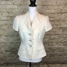 Alex Marie Womens Blazer Ivory Metallic Gold Three Button Size 8P Petite B1