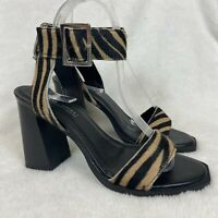 ASOS Shoes 5 Animal Strappy High Block Heels Ankle Strap Pony Fur Party Occasion