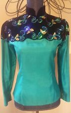 Paula's Western Show Shirt Jacket Teal Green Black Outfit Pants Chaps etc
