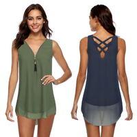 Women Ladies Casual V-neck Sleeveless Shirt Chiffon Loose Vest Top Tank Blouses