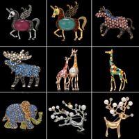 Fashion Christmas Deer Elk Crystal Enamel Pearl Brooch Pin Jewelry Women Gifts