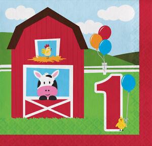 FARM 1st first birthday party lunch/dinner NAPKINS  barn animals farmhouse 18pcs