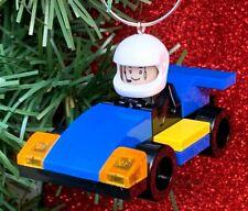 Race Car Driver Blue Racer Minifigure Custom Lego Christmas Tree Ornament OOAK