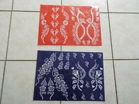 Lot of 3 Self sheets Adhesive Decal Stencils Henna temporary tattoo free ship