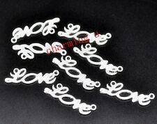 4pz charm ciondoli connettore LOVE  colore argento 33x10mm lead,nikel free