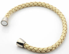 Plaited real leather bracelet for unisex magnetic clasp copper silver plated