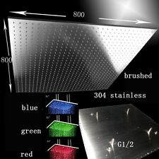 """31"""" LED Multicolor Ceiling Mount Showerhead, Brushed Stainless Steel - Square"""