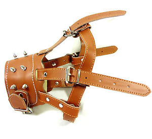 German Shepherd Secure Leather Spiked Dog Muzzle Adjustable for Pit Bull Terrier