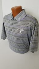 """Antigua TOUR ISSUED Polo """"PERFORMANCE APPAREL"""" TOUR PLAYERS Gray/Purple Polo L"""