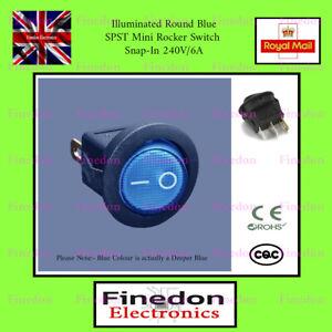 Illuminated Round Blue SPST Mini Rocker Switch Snap-In 240V/6A 3 Pin UK Seller
